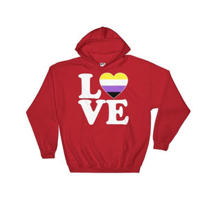 Hooded Sweatshirt - Non Binary Love & Heart Red / S
