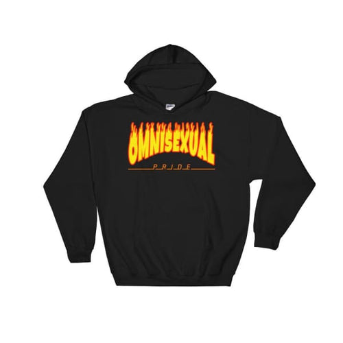 Hooded Sweatshirt - Omnisexual Flames Black / S