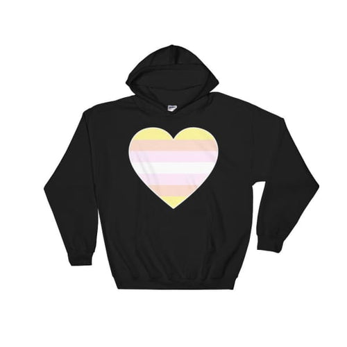 Hooded Sweatshirt - Pangender Big Heart Black / S