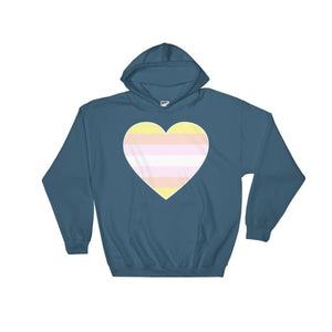 Hooded Sweatshirt - Pangender Big Heart Indigo Blue / S