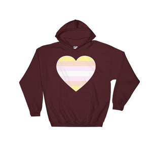 Hooded Sweatshirt - Pangender Big Heart Maroon / S