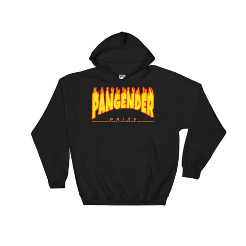 Hooded Sweatshirt - Pangender Flames Black / S