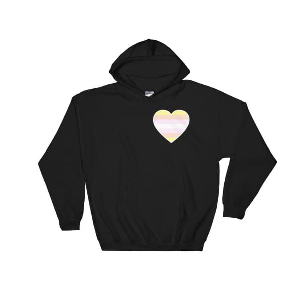 Hooded Sweatshirt - Pangender Heart Black / S