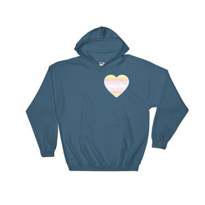 Hooded Sweatshirt - Pangender Heart Indigo Blue / S