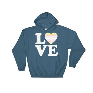 Hooded Sweatshirt - Pangender Love & Heart Indigo Blue / S