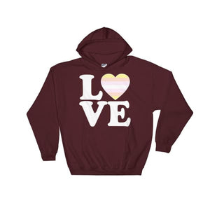 Hooded Sweatshirt - Pangender Love & Heart Maroon / S