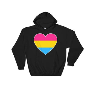 Hooded Sweatshirt - Pansexual Big Heart Black / S