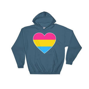 Hooded Sweatshirt - Pansexual Big Heart Indigo Blue / S