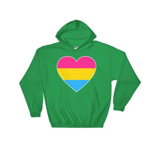 Hooded Sweatshirt - Pansexual Big Heart Irish Green / S