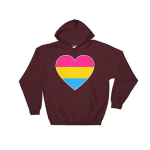 Hooded Sweatshirt - Pansexual Big Heart Maroon / S