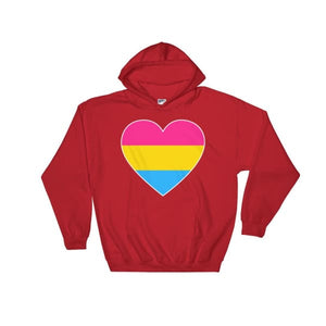 Hooded Sweatshirt - Pansexual Big Heart Red / S