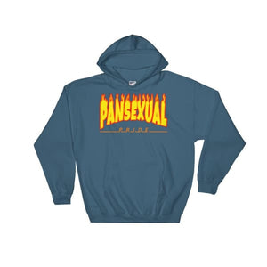 Hooded Sweatshirt - Pansexual Flames Indigo Blue / S