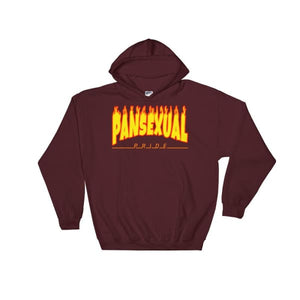 Hooded Sweatshirt - Pansexual Flames Maroon / S