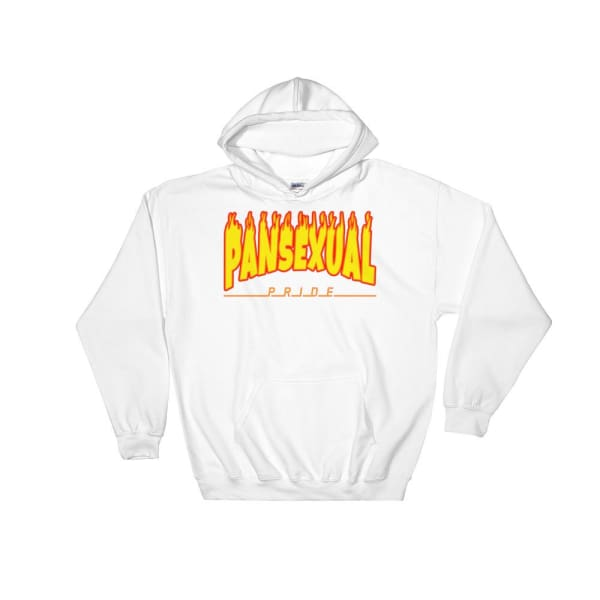 Hooded Sweatshirt - Pansexual Flames White / S