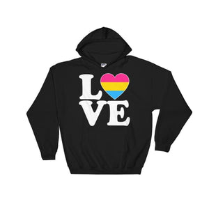 Hooded Sweatshirt - Pansexual Love & Heart Black / S