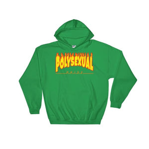 Hooded Sweatshirt - Polysexual Flames Irish Green / S
