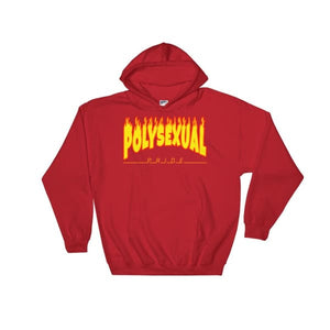 Hooded Sweatshirt - Polysexual Flames Red / S