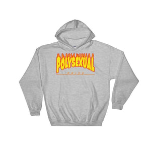 Hooded Sweatshirt - Polysexual Flames Sport Grey / S