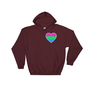 Hooded Sweatshirt - Polysexual Heart Maroon / S