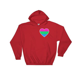 Hooded Sweatshirt - Polysexual Heart Red / S