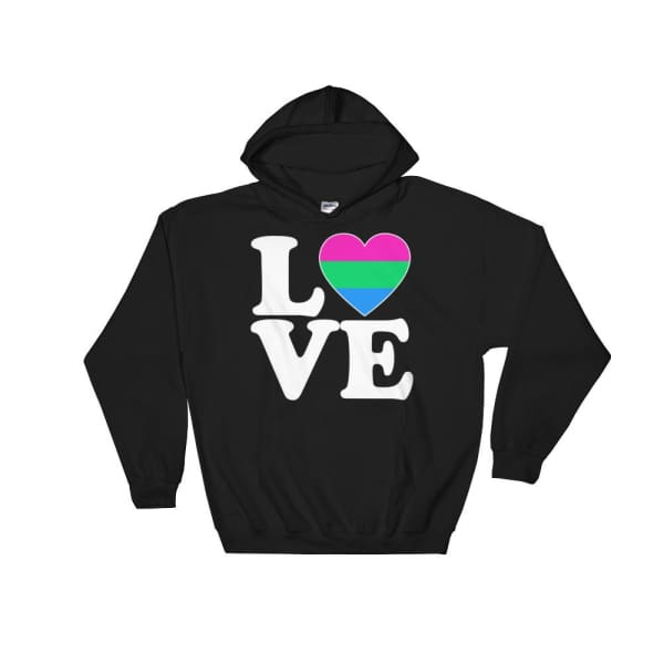 Hooded Sweatshirt - Polysexual Love & Heart Black / S