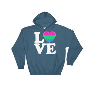 Hooded Sweatshirt - Polysexual Love & Heart Indigo Blue / S