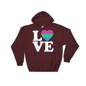 Hooded Sweatshirt - Polysexual Love & Heart Maroon / S