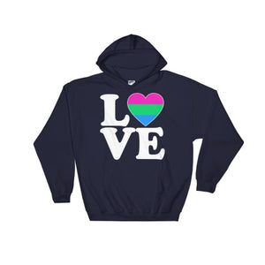 Hooded Sweatshirt - Polysexual Love & Heart Navy / S