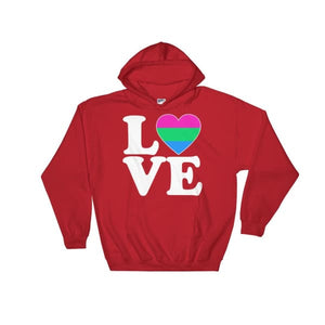 Hooded Sweatshirt - Polysexual Love & Heart Red / S