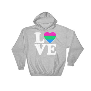 Hooded Sweatshirt - Polysexual Love & Heart Sport Grey / S