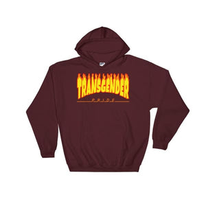 Hooded Sweatshirt - Transgender Flames Maroon / S