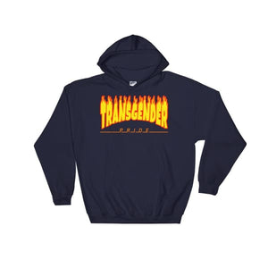 Hooded Sweatshirt - Transgender Flames Navy / S