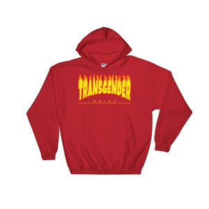 Hooded Sweatshirt - Transgender Flames Red / S