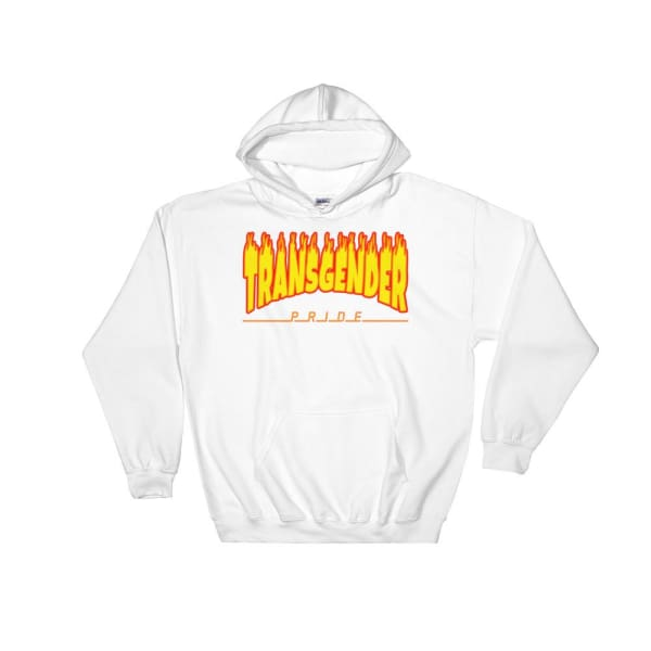 Hooded Sweatshirt - Transgender Flames White / S