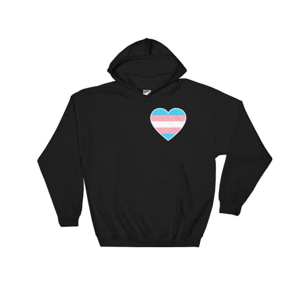 Hooded Sweatshirt - Transgender Heart Black / S