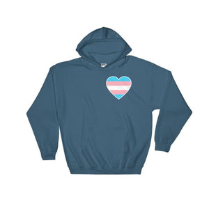 Hooded Sweatshirt - Transgender Heart Indigo Blue / S
