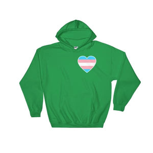 Hooded Sweatshirt - Transgender Heart Irish Green / S