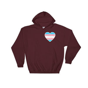Hooded Sweatshirt - Transgender Heart Maroon / S