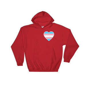 Hooded Sweatshirt - Transgender Heart Red / S