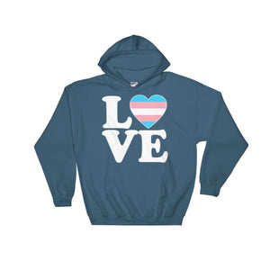 Hooded Sweatshirt - Transgender Love & Heart Indigo Blue / S