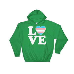 Hooded Sweatshirt - Transgender Love & Heart Irish Green / S