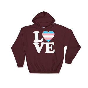 Hooded Sweatshirt - Transgender Love & Heart Maroon / S