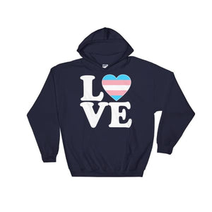 Hooded Sweatshirt - Transgender Love & Heart Navy / S