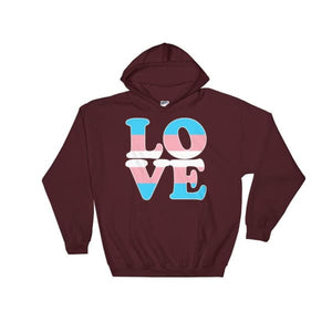 Hooded Sweatshirt - Transgender Love Maroon / S