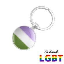 Keychain Double-Sided - 18 Flags Genderqueer