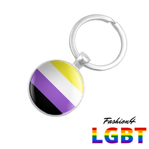 Keychain Double-Sided - 18 Flags Non-Binary