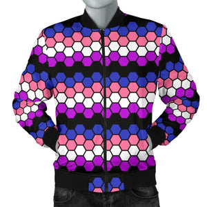 Mens Bomber Jacket - Genderfluid Honeycomb