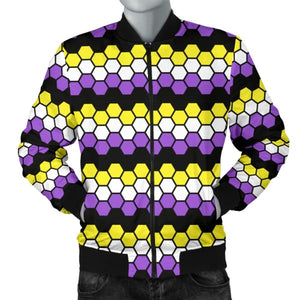 Mens Bomber Jacket - Non Binary Honeycomb