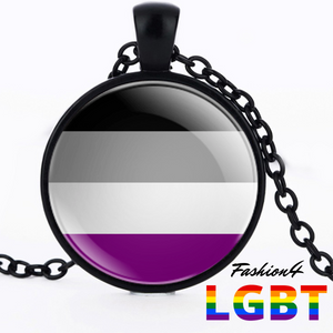 Necklace - 18 Flags Black / Asexual
