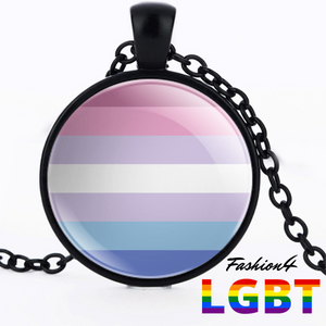 Necklace - 18 Flags Black / Bigender